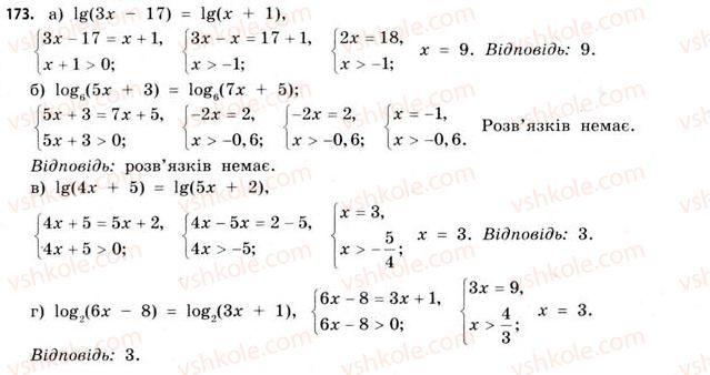 11-matematika-gp-bevz-vg-bevz-2011-riven-standartu--rozdil-1-pokaznikovi-ta-logarifmichni-funktsiyi-5-logarifmichni-rivnyannya-ta-nerivnosti-173.jpg