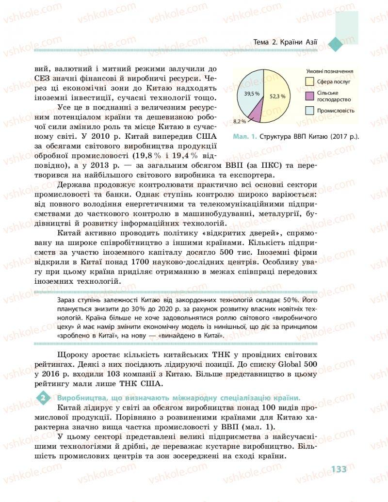 Страница 133 | Учебник Географія 10 класс Г. Д. Довгань, О. Г. Стадник 2018 Рівень стандарту