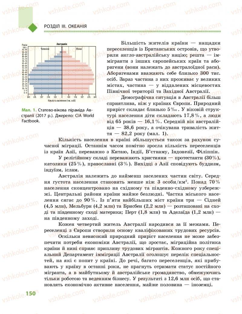 Страница 150 | Учебник Географія 10 класс Г. Д. Довгань, О. Г. Стадник 2018 Рівень стандарту