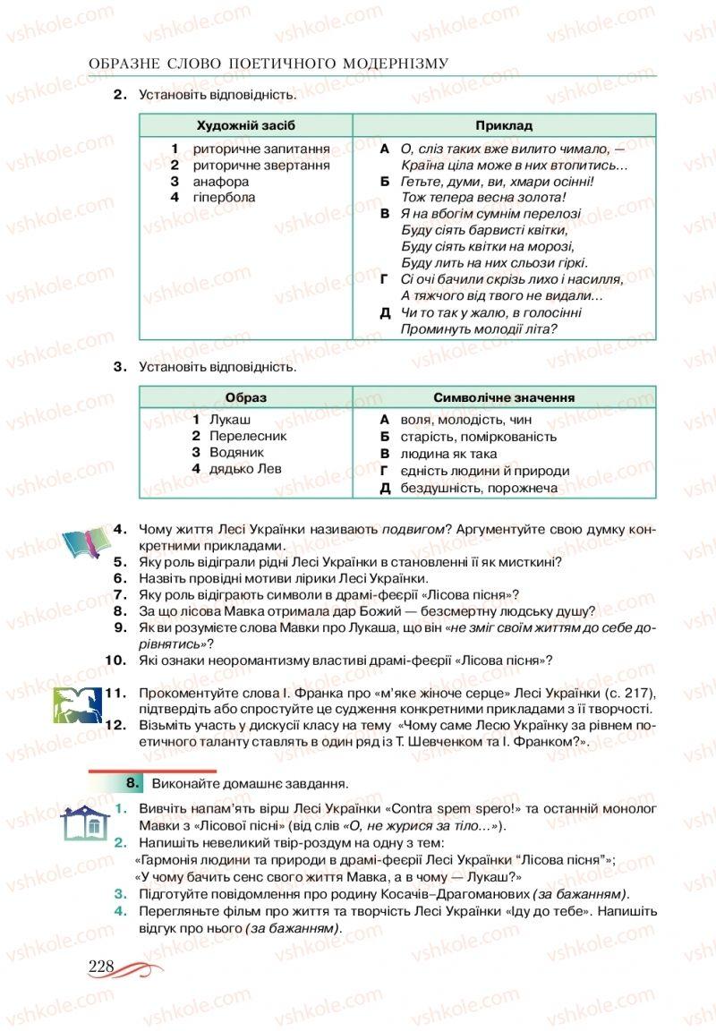 Страница 228 | Учебник Українська література 10 класс О. М. Авраменко, В. І. Пахаренко 2018
