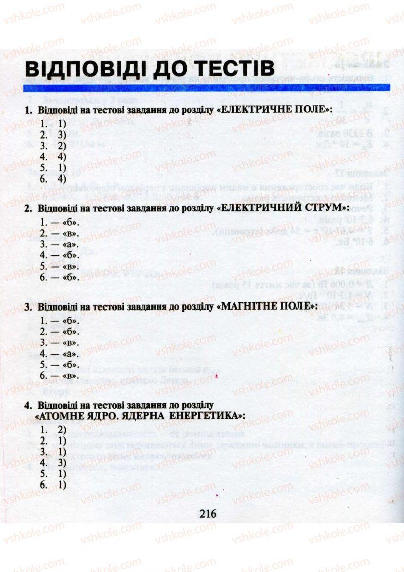 Страница 216 | Учебник Фізика 9 класс М.І. Шут, М.Т. Мартинюк, Л.Ю. Благодаренко 2009