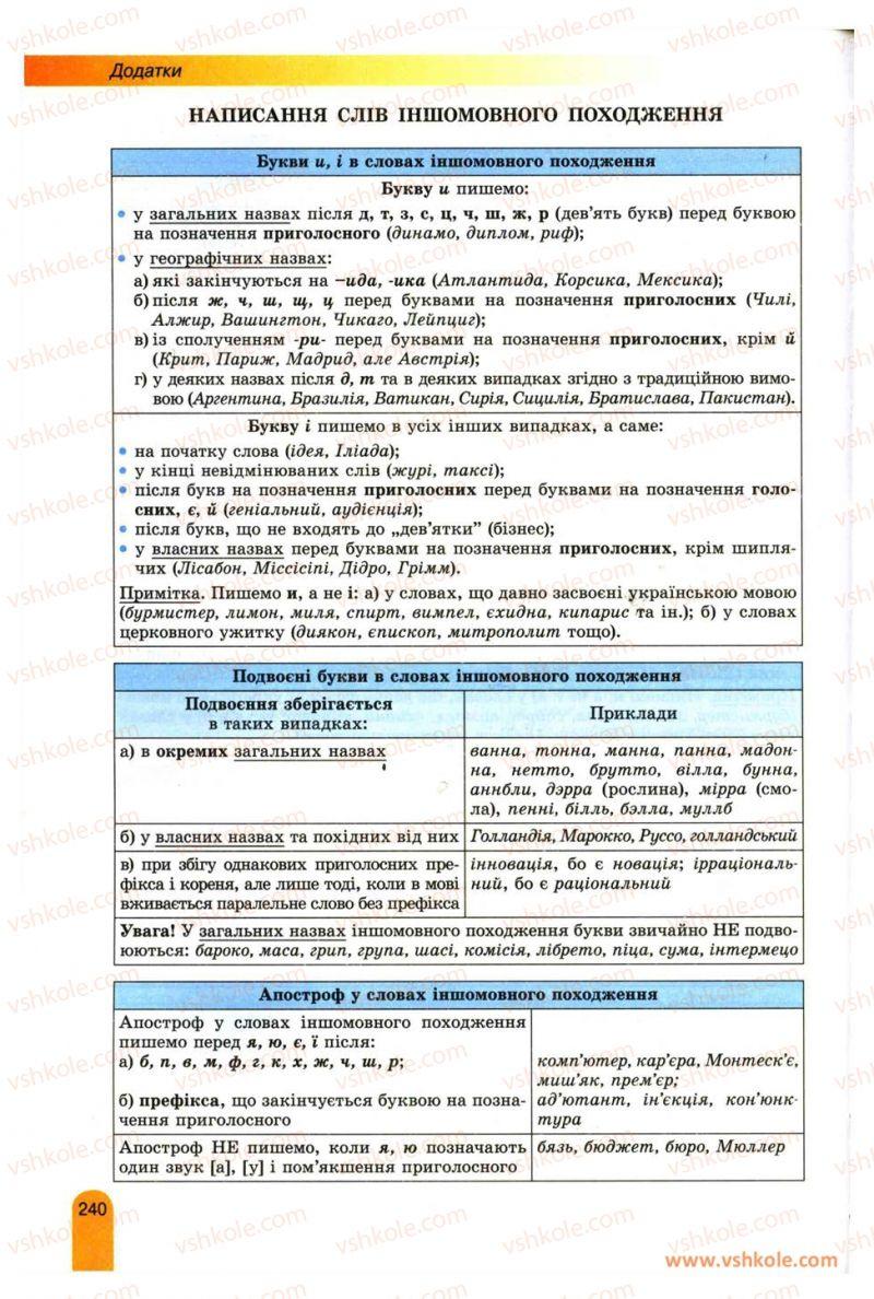 Страница 240 | Учебник Українська мова 11 класс О.В. Заболотний, В.В. Заболотний 2012