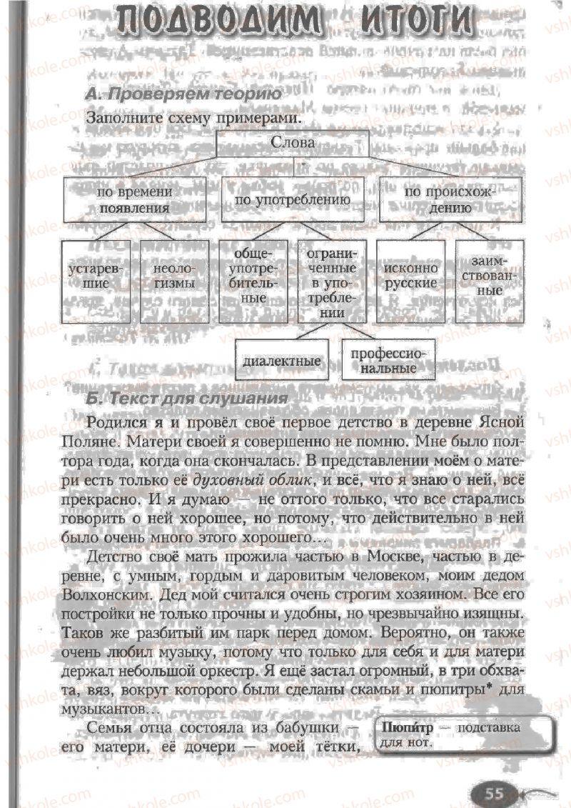 Страница 55 | Учебник Русский язык 6 класс Н.Ф. Баландина, К.В. Дегтярёва, С.А. Лебеденко 2010