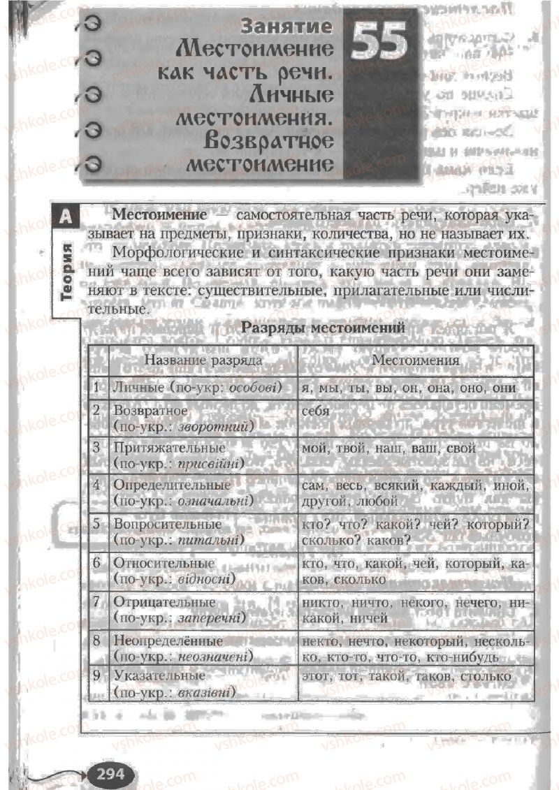 Страница 294 | Учебник Русский язык 6 класс Н.Ф. Баландина, К.В. Дегтярёва, С.А. Лебеденко 2010