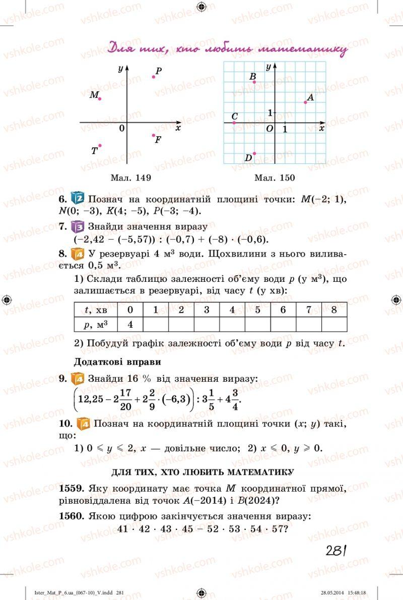Страница 281 | Учебник Математика 6 класс О.С. Істер 2014