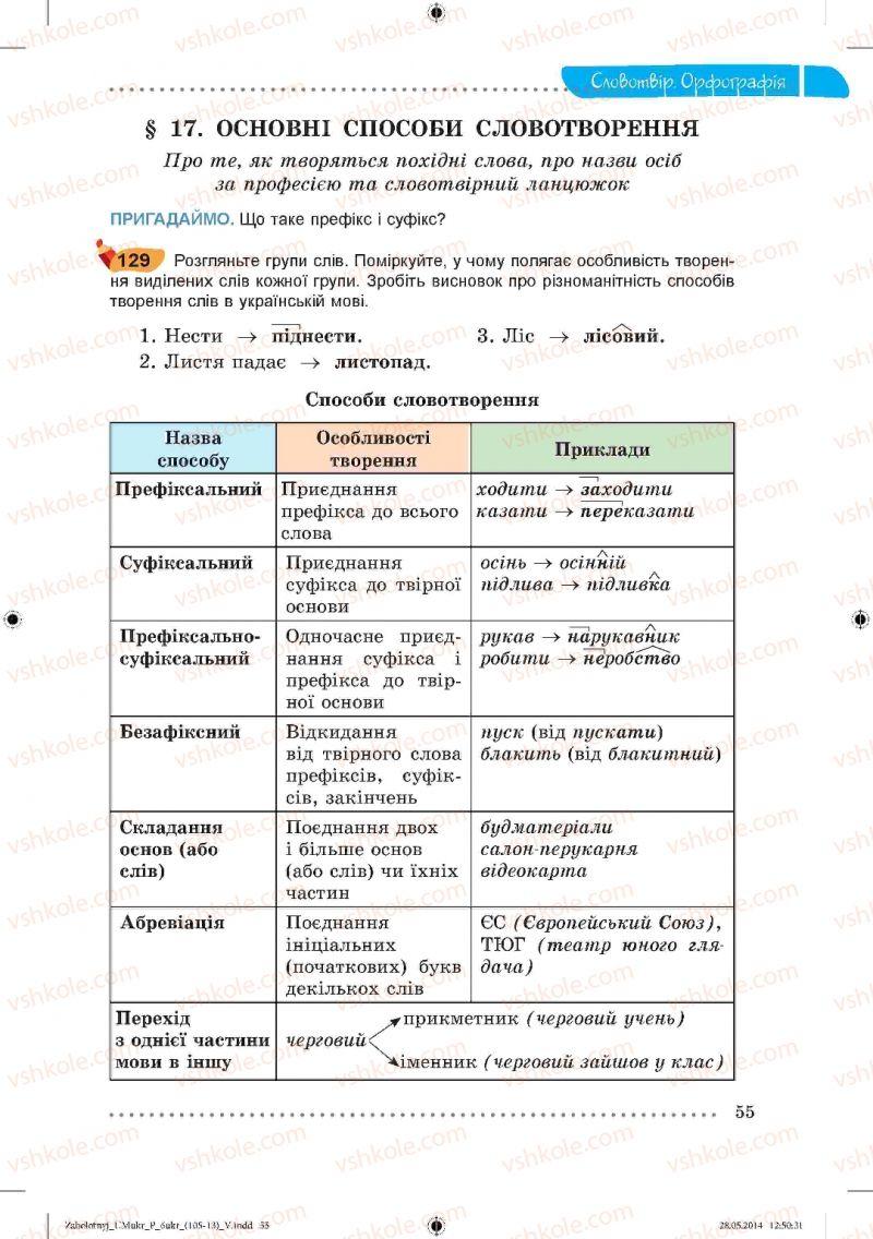Страница 55 | Учебник Українська мова 6 класс В.В. Заболотний, О.В. Заболотний 2014