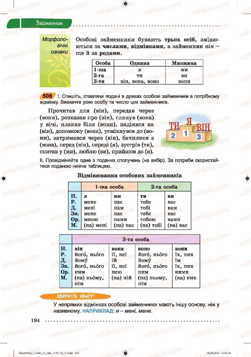 Страница 194 | Учебник Українська мова 6 класс В.В. Заболотний, О.В. Заболотний 2014
