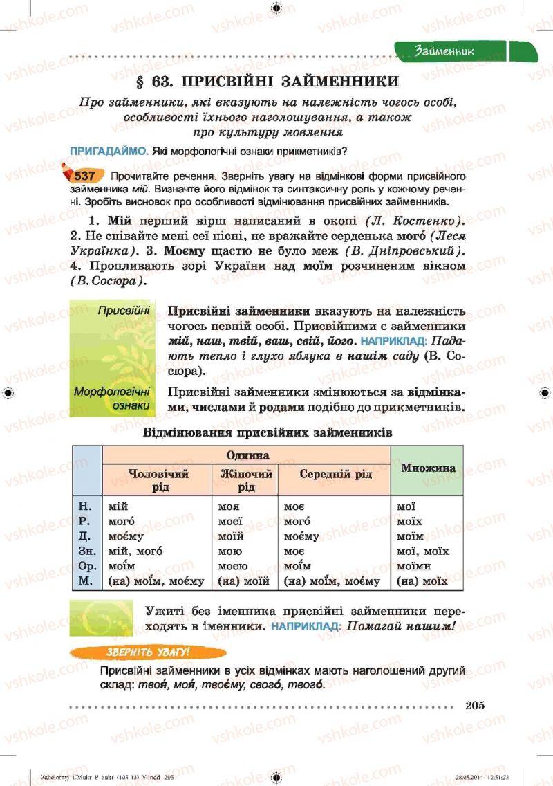 Страница 205 | Учебник Українська мова 6 класс В.В. Заболотний, О.В. Заболотний 2014