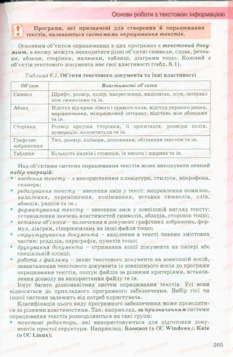 Страница 205 | Учебник Інформатика 9 класс Й.Я. Ривкінд, Т.І. Лисенко, Л.А. Чернікова, В.В. Шакотько 2009