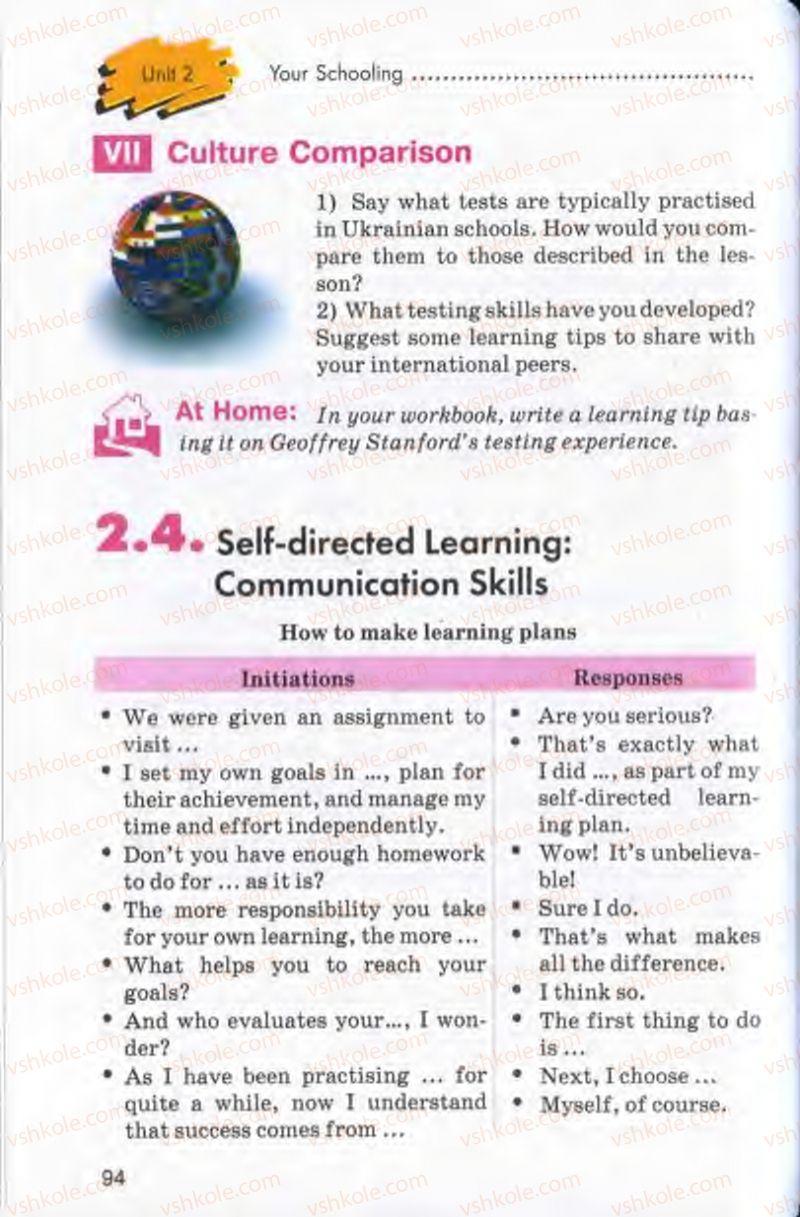 Страница 94 | Учебник Англiйська мова 10 класс Л.В. Калініна, І.В. Самойлюкевич 2011 9 рік навчання