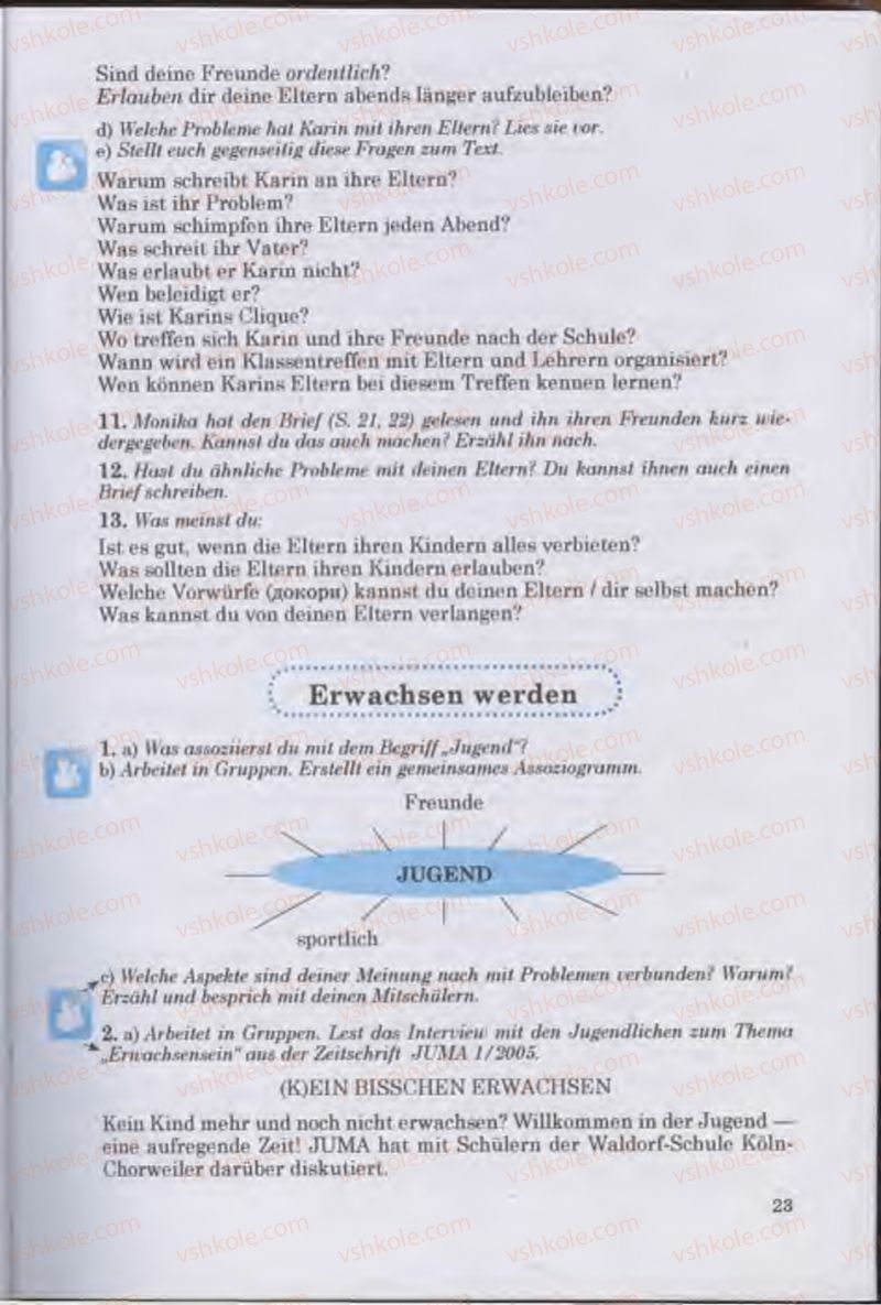 Страница 23   Учебник Німецька мова 11 класс Н.П. Басай 2011 10 рік навчання