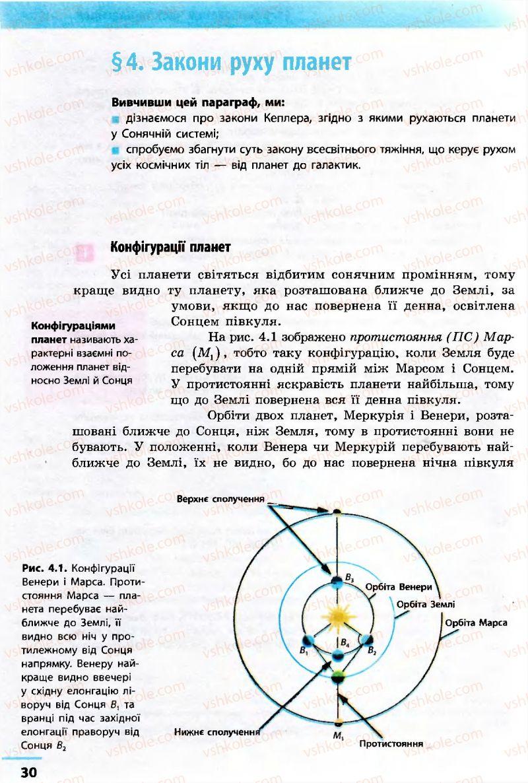 Страница 30   Учебник Астрономія 11 класс М.П. Пришляк 2011 Академічний рівень