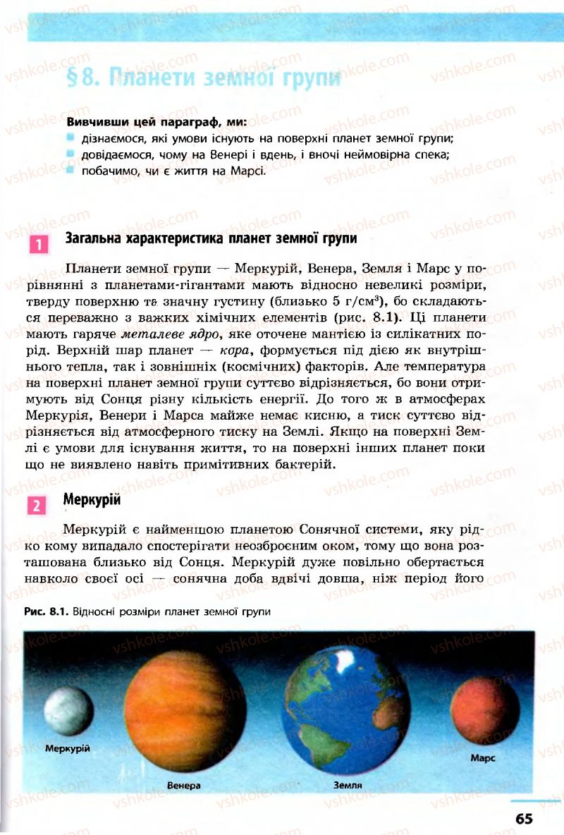 Страница 65   Учебник Астрономія 11 класс М.П. Пришляк 2011 Академічний рівень
