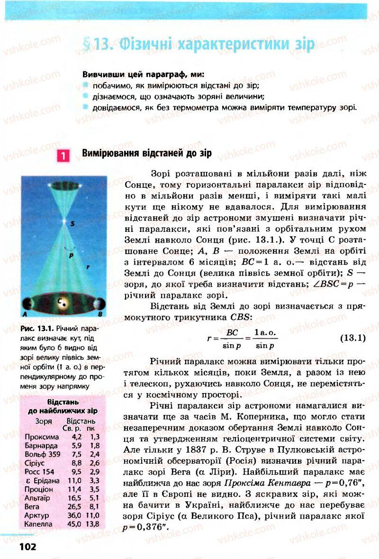 Страница 102 | Учебник Астрономія 11 класс М.П. Пришляк 2011 Академічний рівень