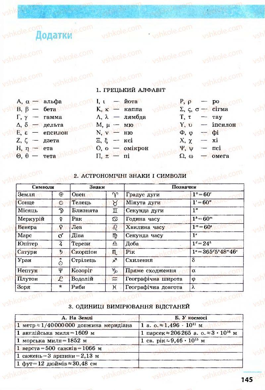 Страница 145   Учебник Астрономія 11 класс М.П. Пришляк 2011 Академічний рівень