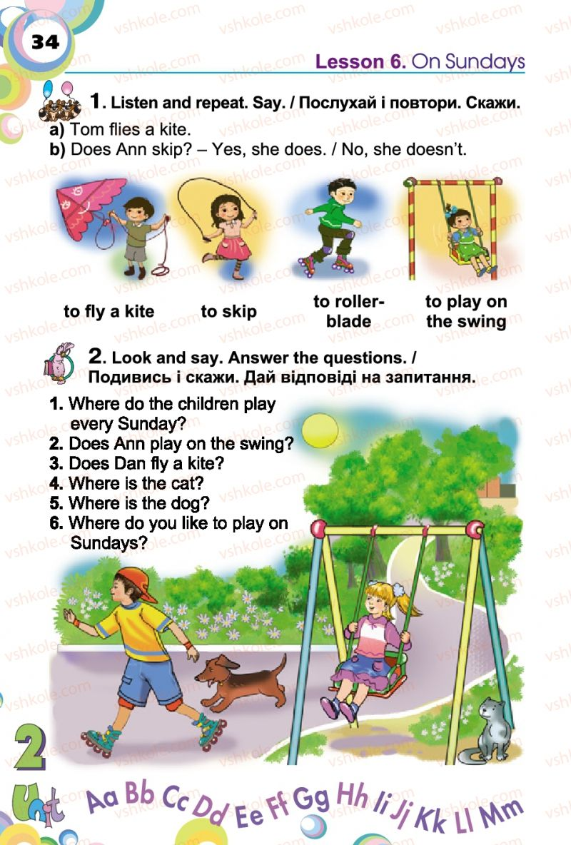 Страница 34 | Учебник Англiйська мова 2 класс А.М. Несвіт 2012