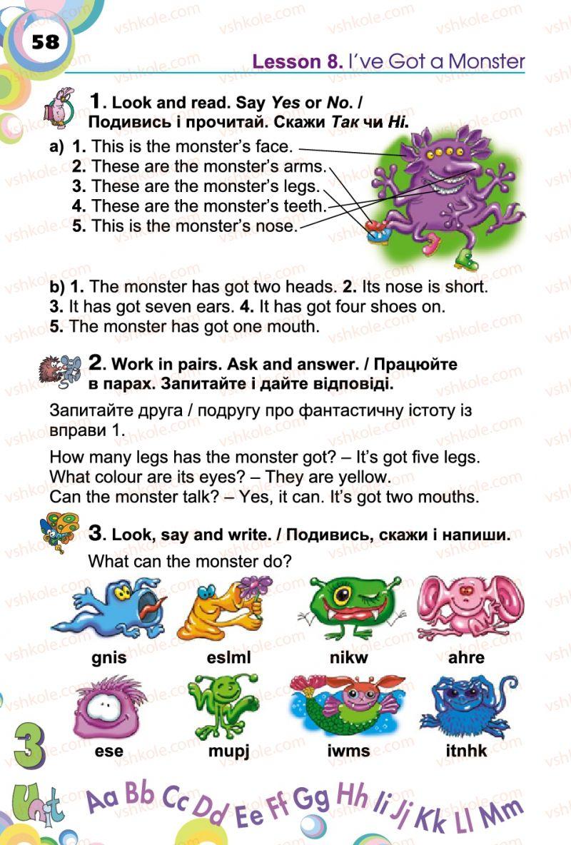 Страница 58 | Учебник Англiйська мова 2 класс А.М. Несвіт 2012