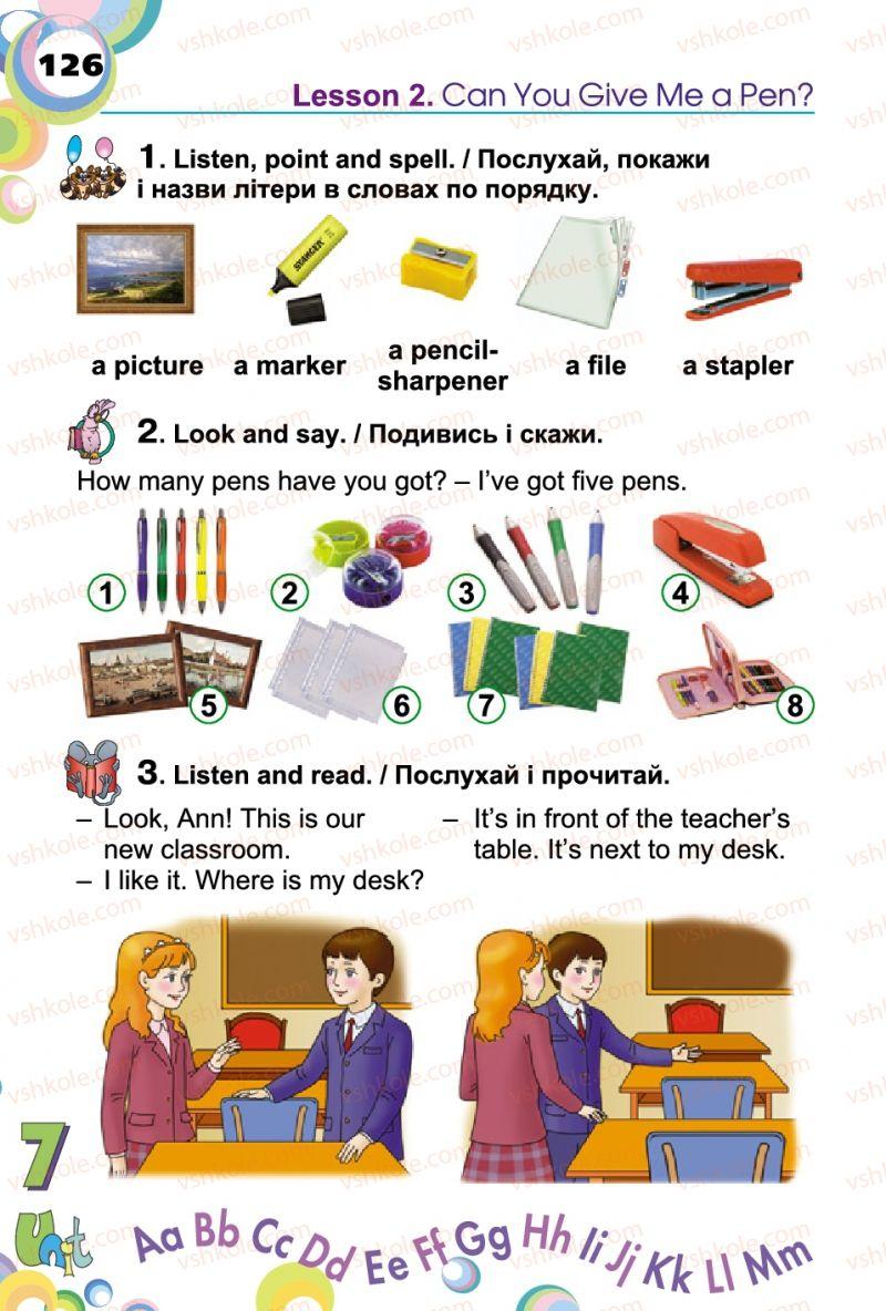 Страница 126 | Учебник Англiйська мова 2 класс А.М. Несвіт 2012