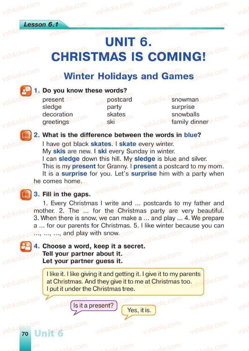 Страница 70   Учебник Англiйська мова 4 класс Н.А. Климишина 2015
