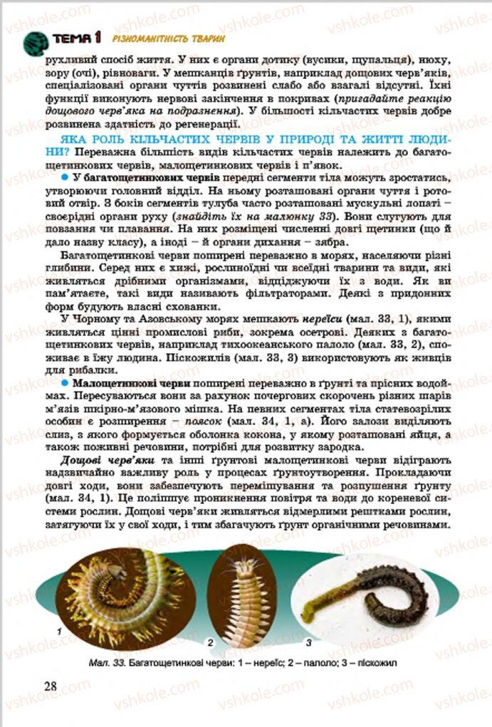 Страница 28 | Учебник Біологія 7 класс  Л.І. Остапченко, П.Г. Балан, В.В. Серебряков 2015
