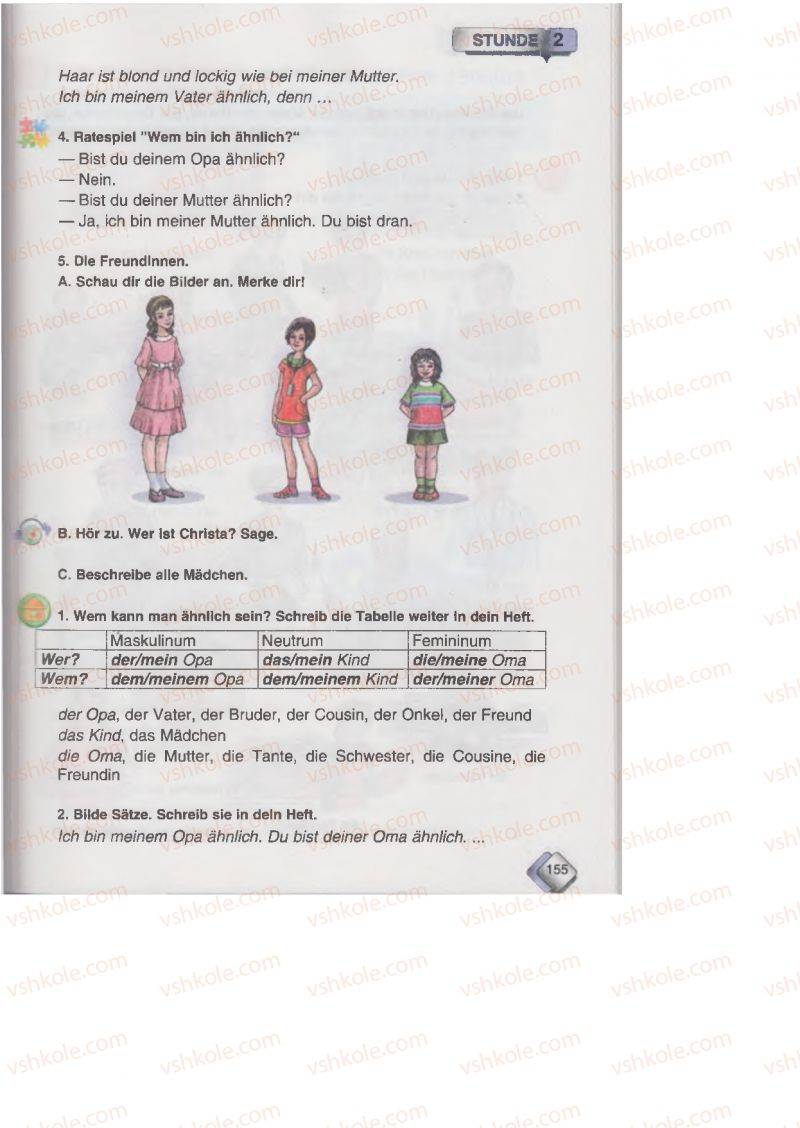 Страница 155 | Учебник Німецька мова 6 класс М.М. Сидоренко, О.А. Палій 2014 2 рік навчання
