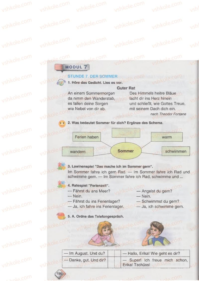 Страница 196 | Учебник Німецька мова 6 класс М.М. Сидоренко, О.А. Палій 2014 2 рік навчання