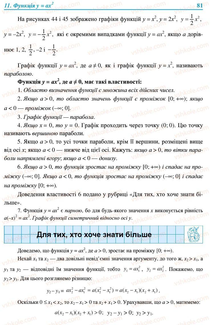 Страница 81   Учебник Алгебра 9 класс В.Р. Кравчук, Г.М. Янченко, М.В. Підручна 2009