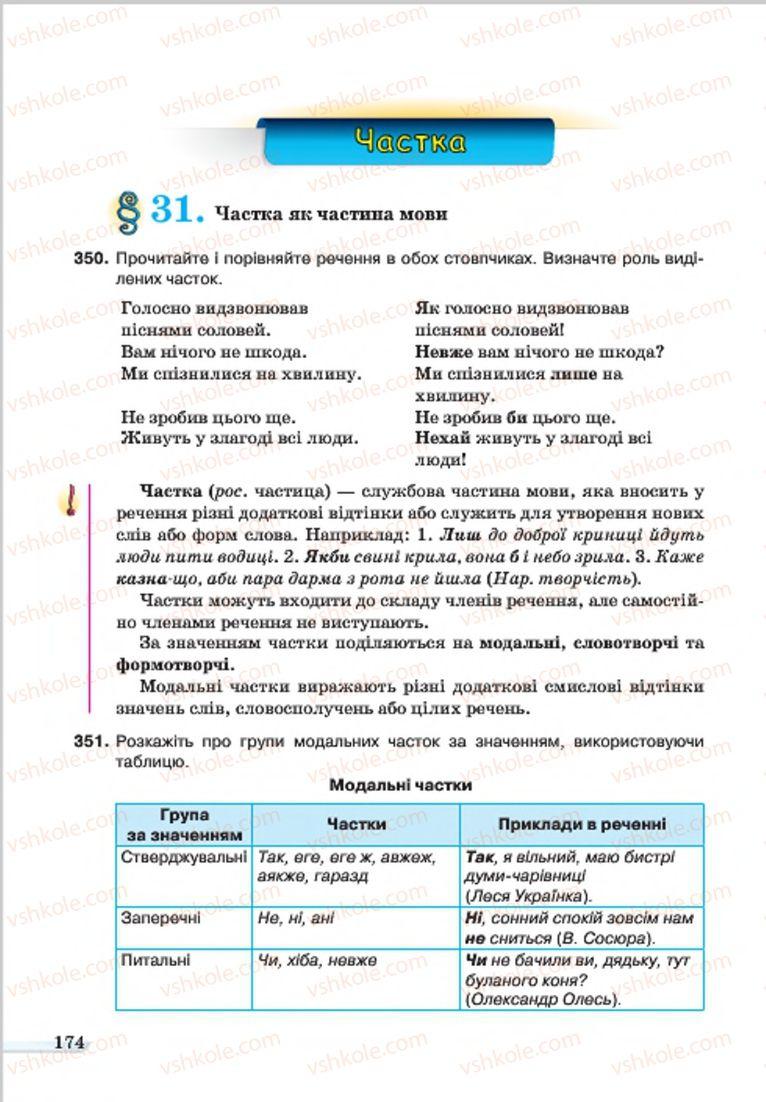 Страница 174 | Учебник Українська мова 7 класс А.А. Ворон, В.А. Солопенко 2015