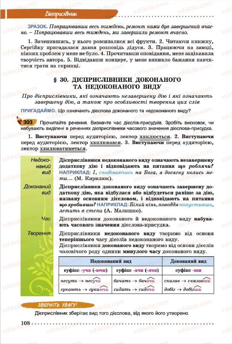 Страница 108 | Учебник Українська мова 7 класс О.В. Заболотний, В.В. Заболотний 2015