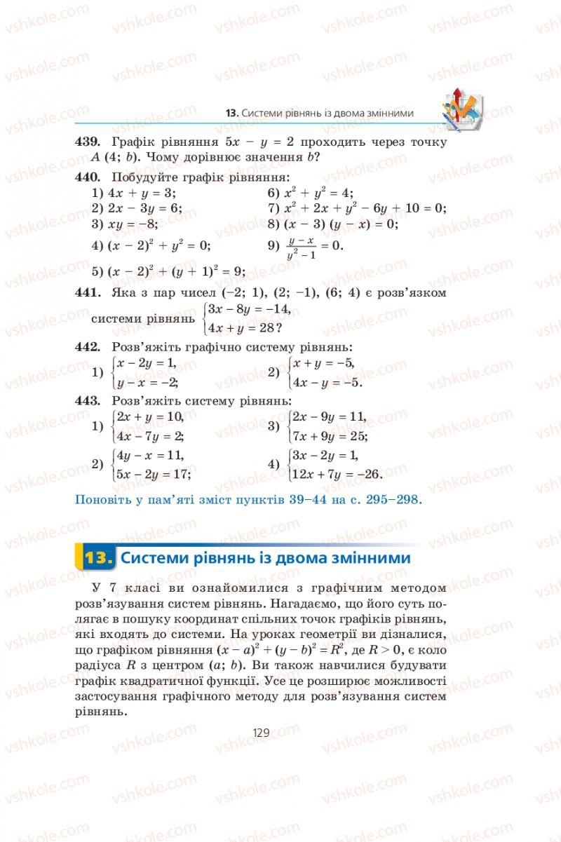 Страница 129   Учебник Алгебра 9 класс А.Г. Мерзляк, В.Б. Полонський, М.С. Якір 2009