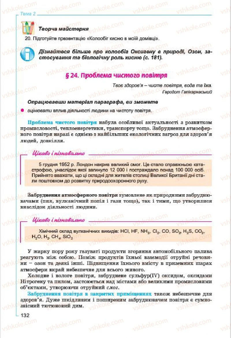 Страница 132 | Учебник Хімія 7 класс Г.А. Лашевська, А.А. Лашевська 2015