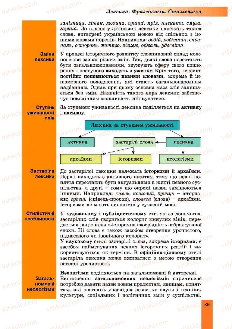 Страница 89 | Учебник Українська мова 10 класс О.В. Заболотний, В.В. Заболотний 2010