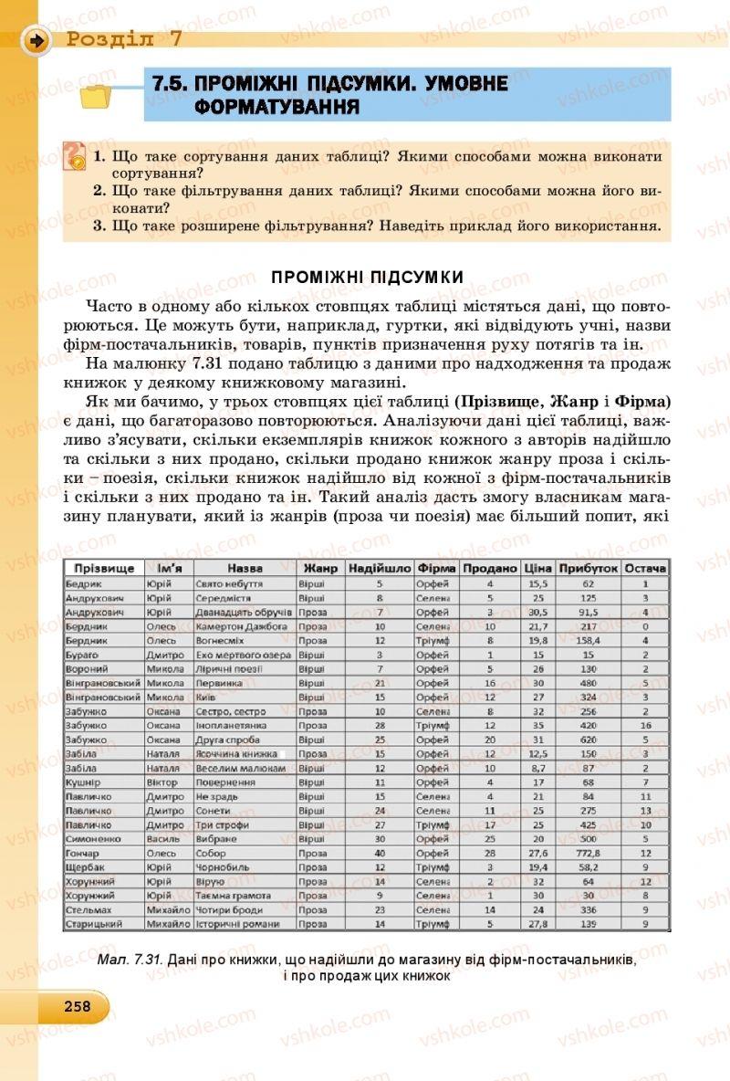 Страница 258 | Учебник Інформатика 8 класс Й.Я. Ривкінд  2016