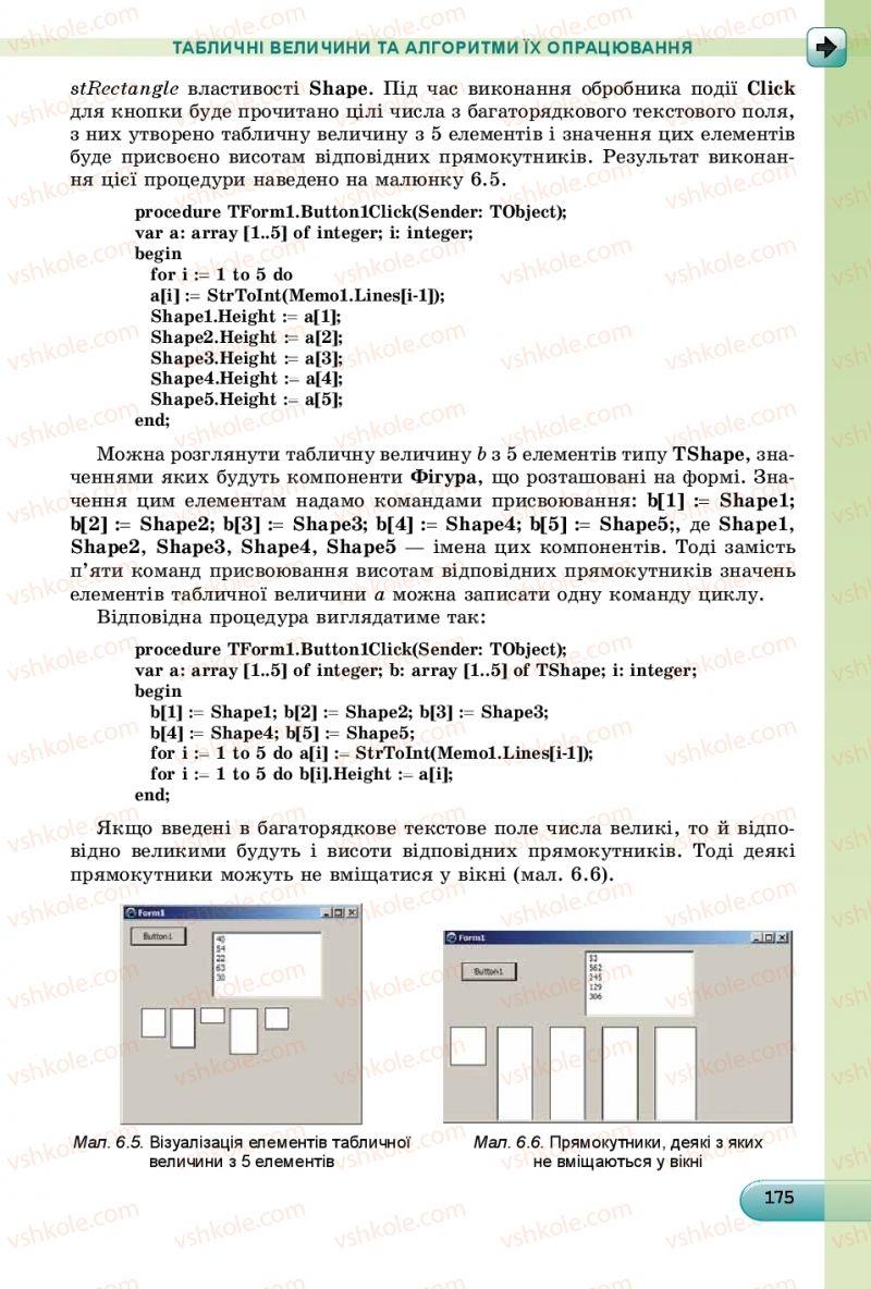 Страница 175   Учебник Інформатика 9 класс Й.Я. Ривкінд, Т.І. Лисенко, Л.А. Чернікова, В.В. Шакотько 2017