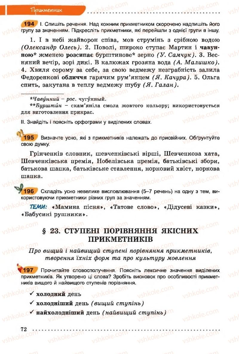 Страница 72 | Учебник Українська мова 6 класс О. В. Заболотний, В. В. Заболотний 2014 На російській мові