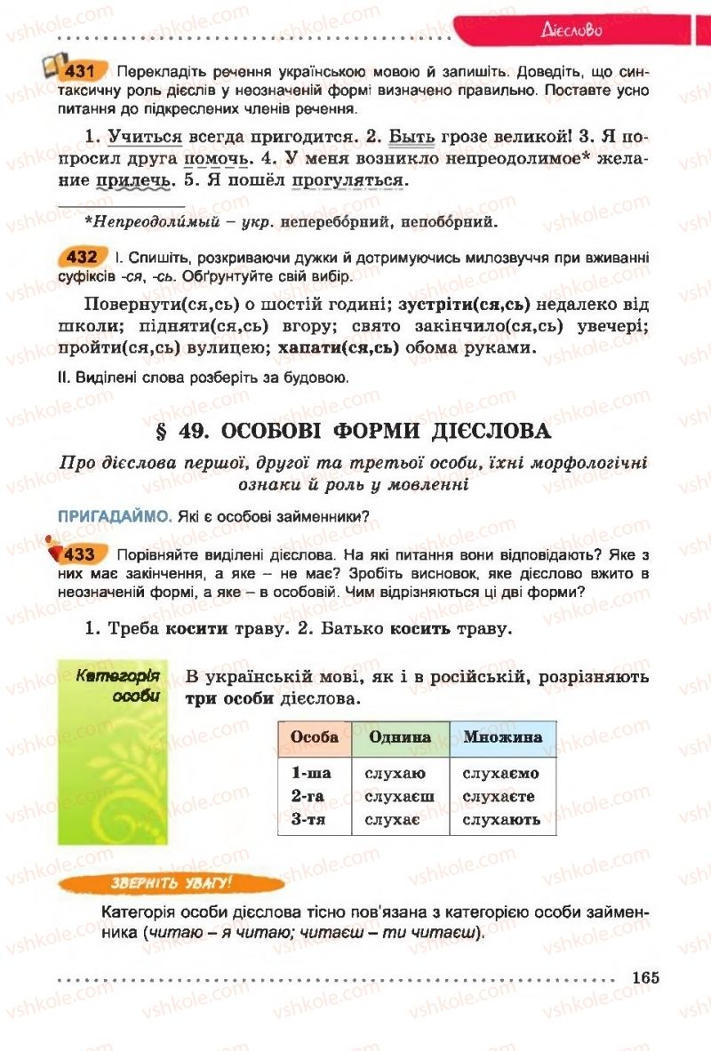 Страница 165 | Учебник Українська мова 6 класс О. В. Заболотний, В. В. Заболотний 2014 На російській мові