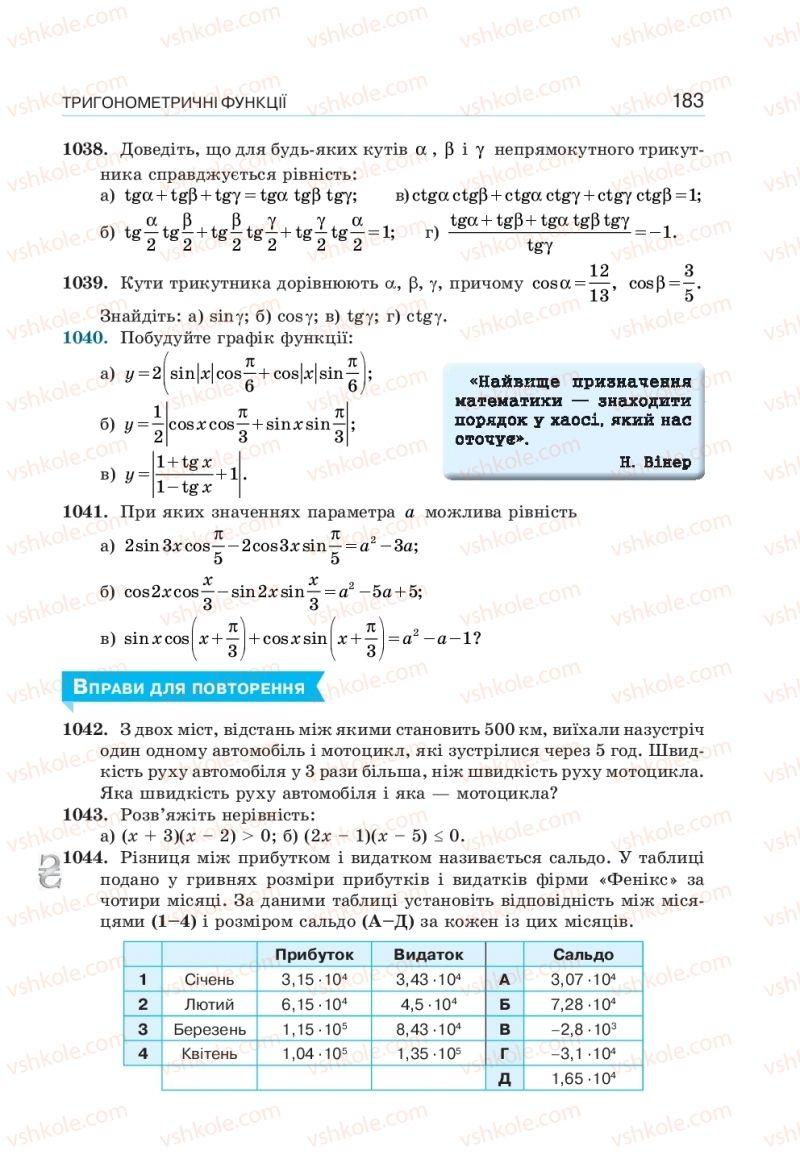 Страница 183 | Учебник Алгебра 10 класс  Г. П. Бевз, В. Г. Бевз, Н. Г. Владімірова 2018 Профільний рівень