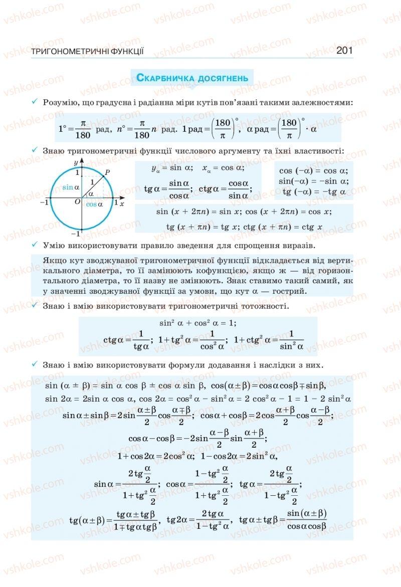 Страница 201 | Учебник Алгебра 10 класс  Г. П. Бевз, В. Г. Бевз, Н. Г. Владімірова 2018 Профільний рівень