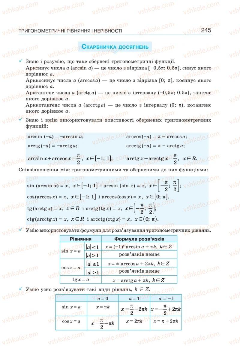 Страница 245 | Учебник Алгебра 10 класс  Г. П. Бевз, В. Г. Бевз, Н. Г. Владімірова 2018 Профільний рівень