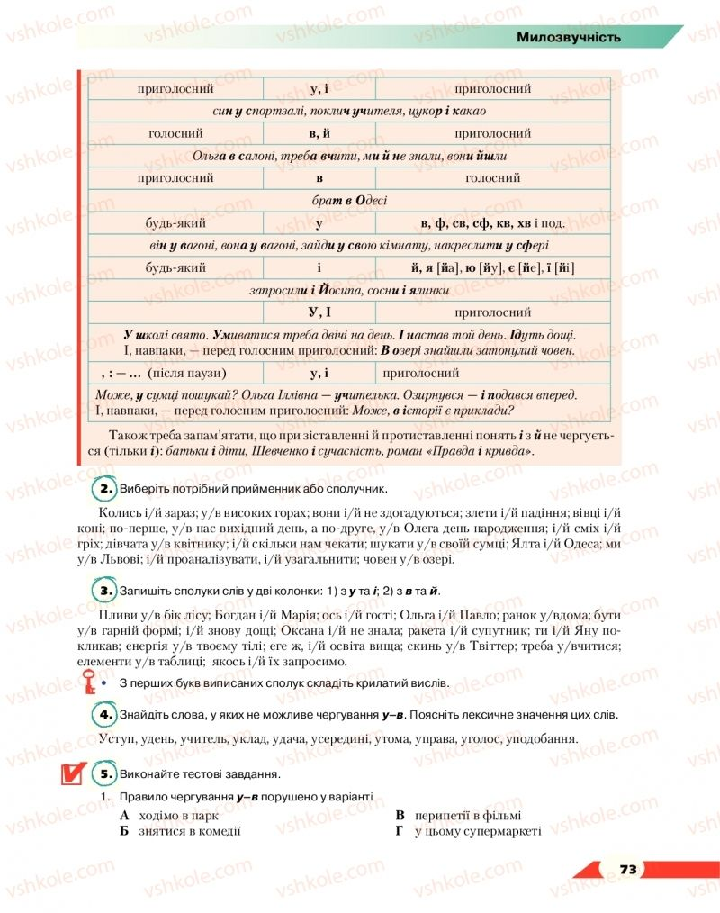 Страница 73 | Учебник Українська мова 10 класс О. М. Авраменко 2018