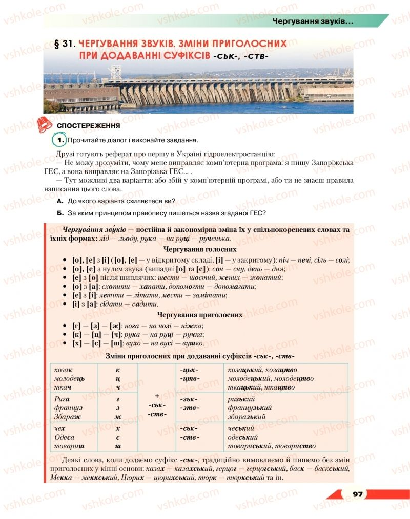 Страница 97 | Учебник Українська мова 10 класс О. М. Авраменко 2018