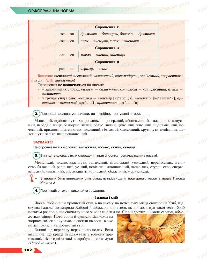 Страница 102 | Учебник Українська мова 10 класс О. М. Авраменко 2018