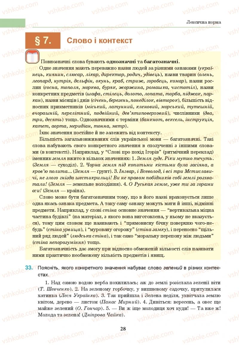Страница 28   Учебник Українська мова 10 класс І. П. Ющук 2018