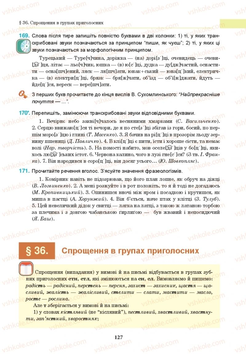 Страница 127 | Учебник Українська мова 10 класс І. П. Ющук 2018