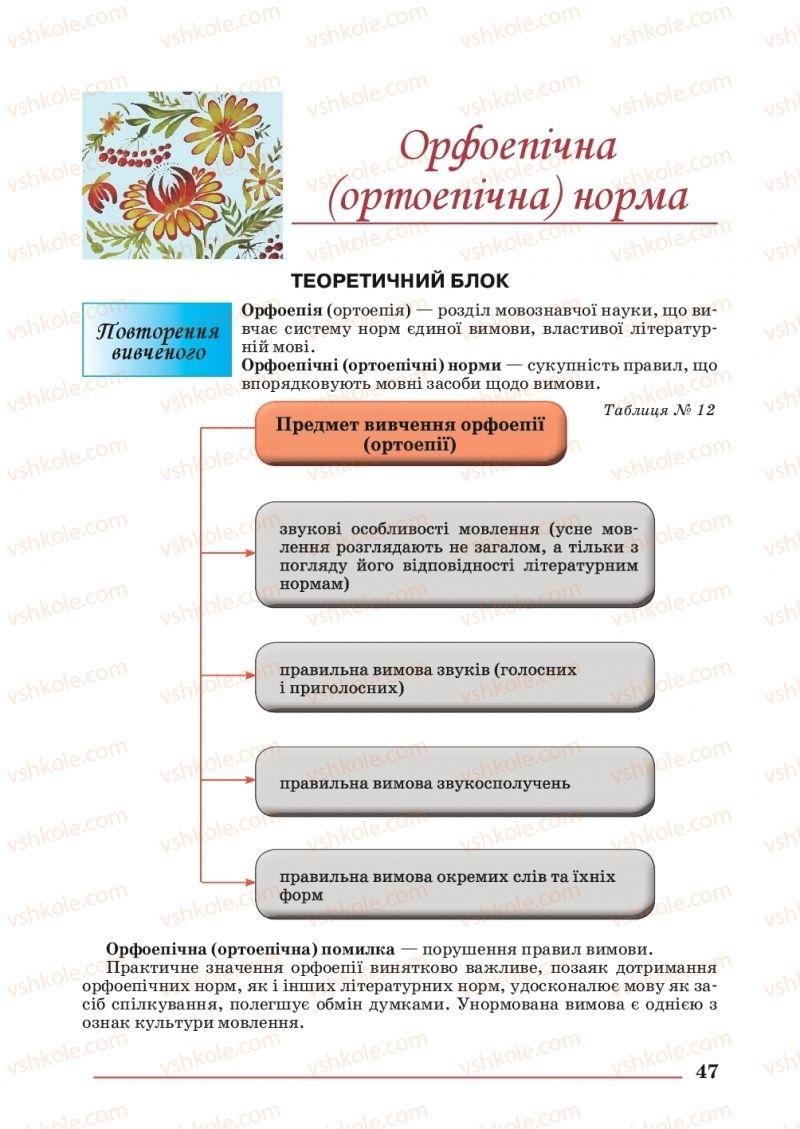 Страница 47 | Учебник Українська мова 10 класс С. В. Шевчук 2018