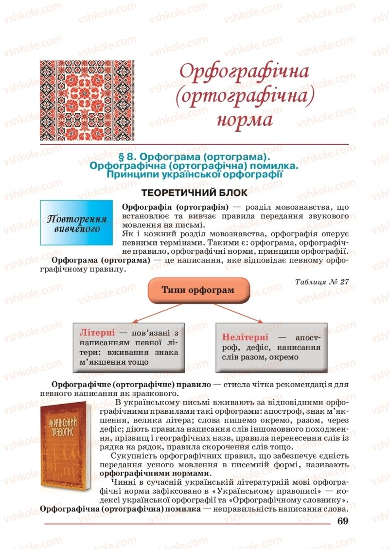 Страница 69   Учебник Українська мова 10 класс С. В. Шевчук 2018