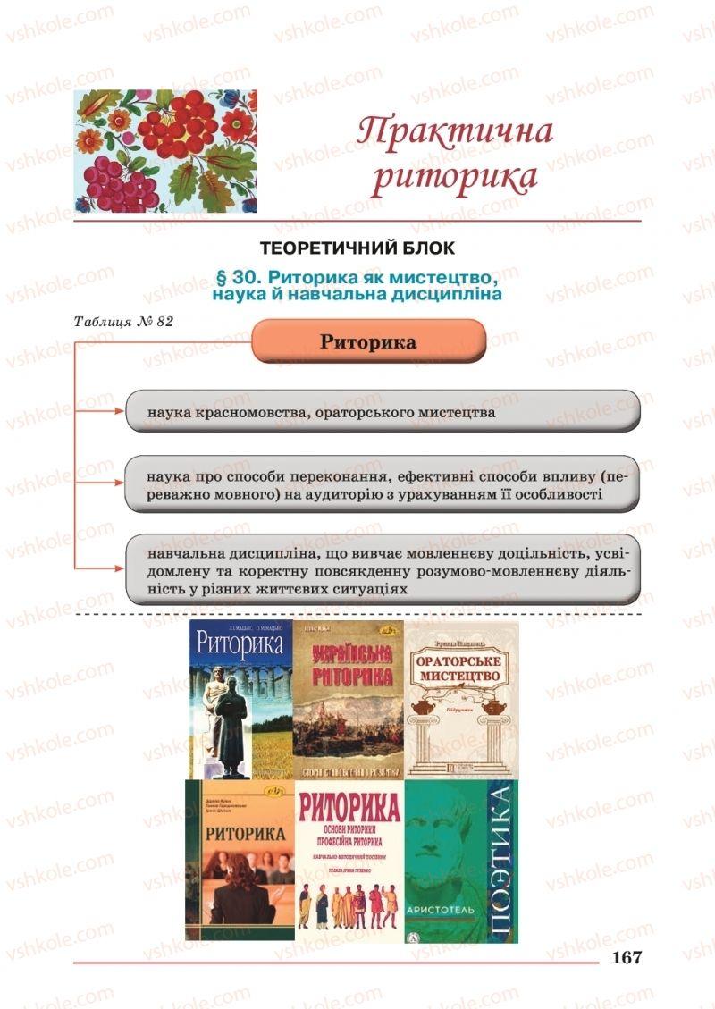 Страница 167 | Учебник Українська мова 10 класс С. В. Шевчук 2018