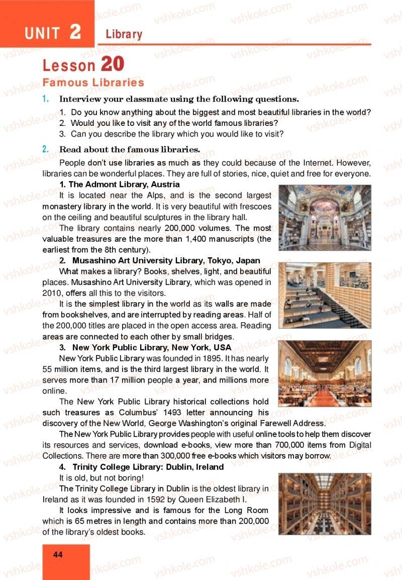 Страница 44 | Учебник Англiйська мова 10 класс М. О. Кучма 2018