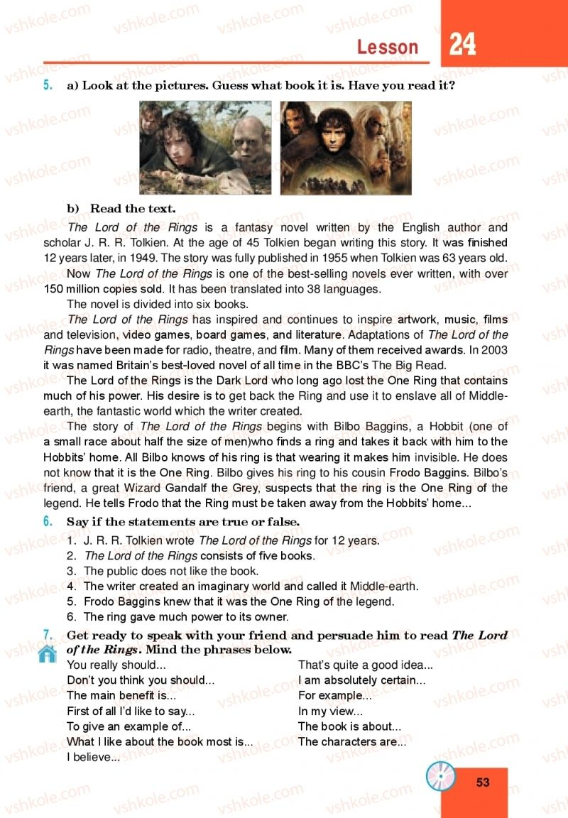 Страница 53 | Учебник Англiйська мова 10 класс М. О. Кучма 2018