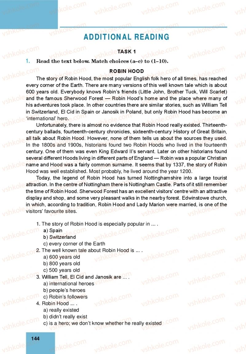 Страница 144 | Учебник Англiйська мова 10 класс М. О. Кучма 2018